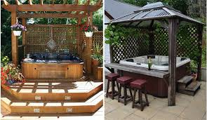 hot spring spa with wood deck surround