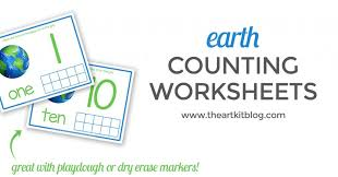 Earth Day Counting Worksheets {Free Printable Pack} - The Art Kit