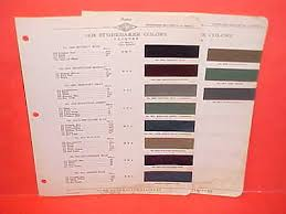 President Paint Color Chart 1938 Studebaker State Commander President Paint Chips Color