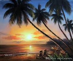 2018 framed hawaii island couple chairs sunset beach palm trees hand painted seascape art oil painting on canvas multi sizes j024 from coffee starbucks