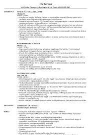 Planner Resume Sample Materials Planner Resume Samples Velvet Jobs 19
