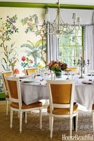 the dining room now bursts with high octane design from the zuber wallpaper to
