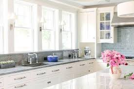 white kitchen cabinets with gray granite and backsplash photos