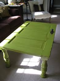 green old door turned into a coffee table
