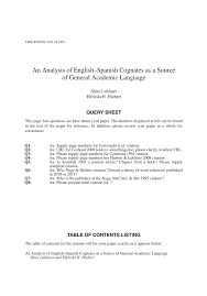 pdf an ysis of english spanish cognates as a source of general academic age
