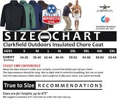 Human Made Size Chart Clarkfield Outdoors Made In Usa Insulated Chore Coat Brown
