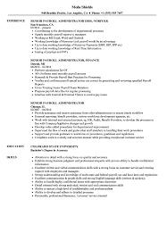 Payroll Manager Resume Sample Senior Payroll Administrator Resume Samples Velvet Jobs 2