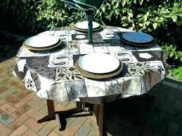 outdoor round tablecloth umbrella hole idea patio with tablecloths for tables vinyl tableclot