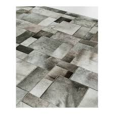 cowhide leather carpet rug grey elephant puzzle handmade by