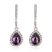 purple chandelier earrings cubic zirconia purple cz long drop earrings