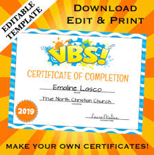 Vbs Certificate Template Vbs Vacation Bible School Certificate Of Completion Editable Template
