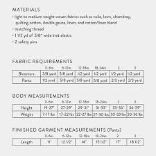 Baby Boy Size Chart Baby Toddler Bloomers Pants Sewing Pattern