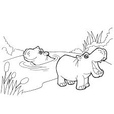 Small Picture Hippos Coloring Page Rainy Day Art Framing Co
