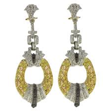 black and white diamond sapphire white and yellow gold chandelier earrings for at 1stdibs
