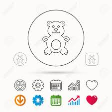 Teddy Bear Icon Baby Toy Sign Plush Animal Symbol Calendar