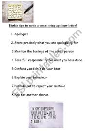 8 Tips To Write A Convincing Apology Letter Esl Worksheet