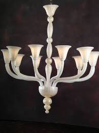 2 italian mid century style hand blown venetian glass chandeliers or pendants in milky white