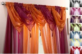 Red Swag Kitchen Curtains Voile Swag Swags Tassle Decorative Net Curtain Drapes Pelmet