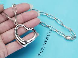 details about tiffany co sterling silver elsa peretti large open heart oval link necklace