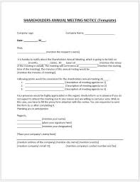 Shareholder Annual Meeting Notice Ms Word Template