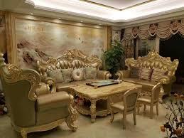 Royal Furniture Design Hot Item Golden Color Luxury Royal Furniture Sets Living Room Leather Sofa 028