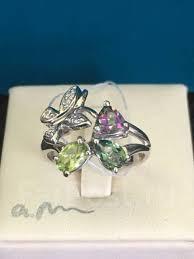 NEW*<b>Кольцо с топазом</b>, <b>хризолитом</b>, белые фианиты, серебро ...
