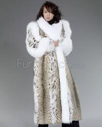 fur coat lynx fur with white fox fur trim
