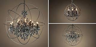 smoke crystal chandelier smoked mirrored restoration hardware orb