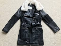 girls river island faux leather coat