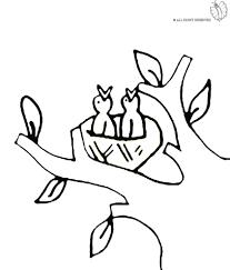 Disegno Di Nido Di Uccelli Da Colorare Per Bambini Con Uccelli