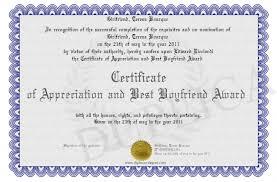 Certificate Of Appreciation And Best Boyfriend Award