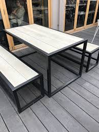 industrial style outdoor furniture. Outdoor Garden Set- Industrial Style. Composite Seating And Table Top Inset To A Powder Coated Frame- We Offer Bespoke Service With 100s Of Colour Style Furniture L