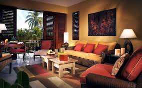 Living Room:Tropical Living Room Wit Small Wooden Cofee Table And Cozy Red  Sofas Fresh