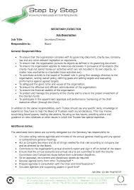 template of secretary job description for resume large size - Secretary Job  Description Sample