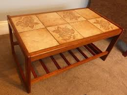vintage retro danish teak tiled coffee table with shelf h16in 41cmd18 5in