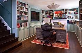 View in gallery Transitional basement home office that is a real  showstopper!