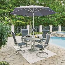 home styles furniture south beach 7 piece round outdoor dining table with 4 swivel rocking chairs and umbrella with base