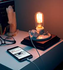 diy side table lamp with phone charger less than 20
