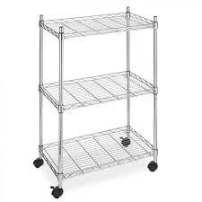 new wire shelving cart unit 3 shelves w casters shelf rack wheels chrome