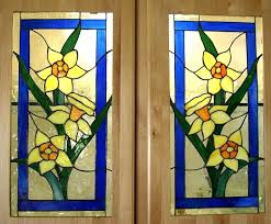 stained glass kitchen cabinets daffodil cabinet doors stained glass designs for kitchen cabinets