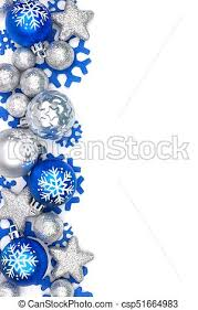 Christmas Ornaments Border Blue And Silver Christmas Ornament Border Over White