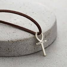 silver ankh necklace with leather cord