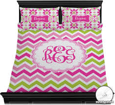 pink green chevron duvet cover set personalized