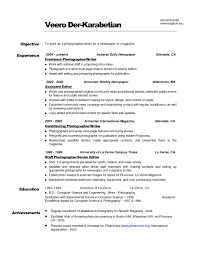 Photographer Resume Objective Collection Of Solutions Resume Template What To Write On Objective 66