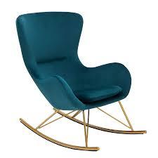 Riess Ambiente Design Schaukelstuhl Scandinavia Swing Grün Samt Gold Schaukelsessel Sessel Stuhl Relaxsessel Samtmöbel