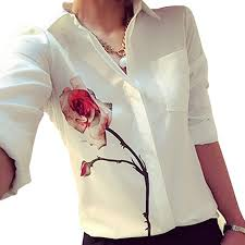 FEITONG <b>2017 Summer</b> Women Long Sleeve Rose Flower <b>Blouse</b> ...