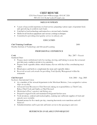 Cook Resume Summary Chef Resume Objective Resume For Study Mass