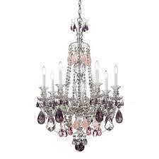 schonbek hamilton silver seven light amethyst and rose rock crystal chandelier 26w x 37 5h x 26d