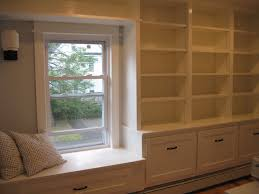 custom bookcase and window seat built in library room window inspiring ideas