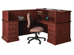 back view with optional reception hutch bedford shaped office desk